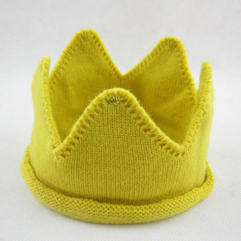 Harga PAlight Cute Crown Shape Knit Baby Hats (Yellow)