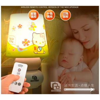 Harga Mini LED Night Light With Remote Control Night Lamp For Kids Room, Bedside, Nursery (Hello kitty) - intl