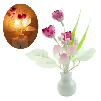 Harga Bluelans Tulip Flower LED Night Light Soft Sensor Baby Bed Room Lamp Home Decor (Intl) - intl