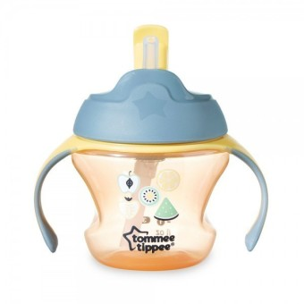 Harga Tommee Tippee Training 1st Straw Cup For Baby 9m+ - Orange Fruit
