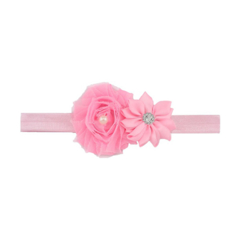 Harga Fang Fang Toddler Newborn Baby Girl Double Flower Pearl Headband Hair Band Hair Accessory (Pink)