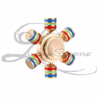 Harga Lucky - Fidget Hand Spinner Premium Knock Down METALIC Material Bass 6 Bearing - GOLD