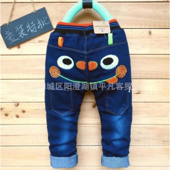 Harga 2017 spring and Autumn cartoon design baby long pant kids jeans baby boy demin - intl