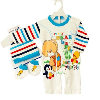 Harga Momo Jumper Happy Baby Bear 3 In 1 Set Panjang - 0 Sampai 3 Bulan - Biru