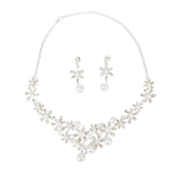 BolehDeals Bridal Wedding Party Jewelry Snowflake Rhinestone Pearl Necklace Earring Set