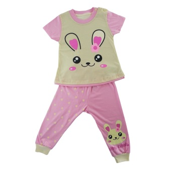Dessan Face Animal Rabbit Long Pants - Merah Muda