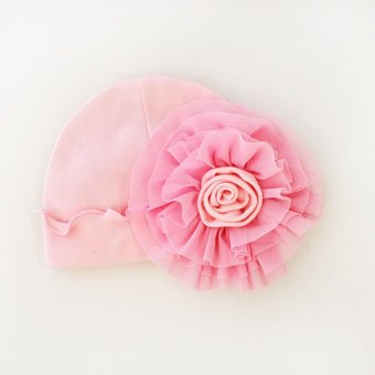 Harga Sweet Newborn Baby Girls Big Flower Soft Cotton Hat(Pink)