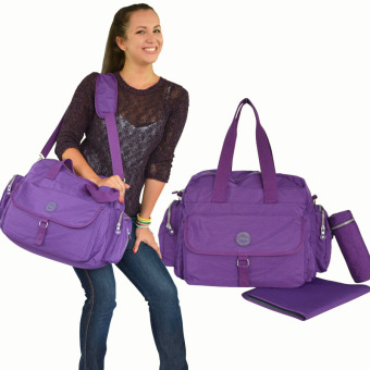 Harga Large Capacity Baby Diaper Nappy Bags Bottle Holder Cross Body Mummy Changing Bag (Purple)