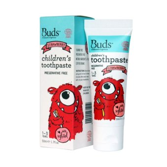 Harga Buds Oralcare Organics - Strawberry With Xylitol (1-3 years) - Pasta Gigi Bayi Organik