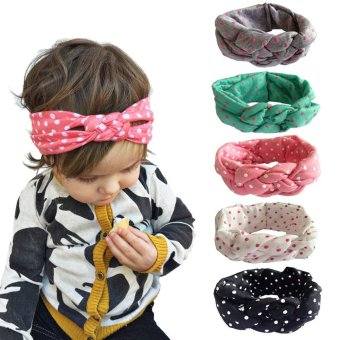 Harga 5PC Elastic Headband Head Wrap Knotted Hair Band For Baby Girl - intl