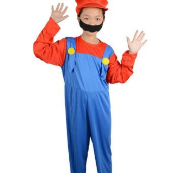 Harga Unisex Halloween Children Louis Mario Super Marie Clothes Cosplay Costume-Size XL
