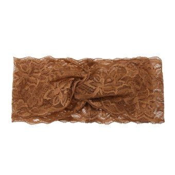 Harga Baby Girls Beautiful Lace Turban Stretchable Knot Hairband (Brown) - intl