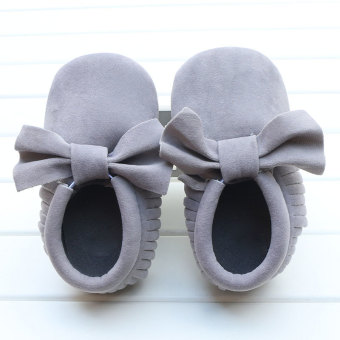 Harga Baby Boys Girls Tassel Bow Soft Sole PU Leather Loafers Moccasin Sneakers Light Gray