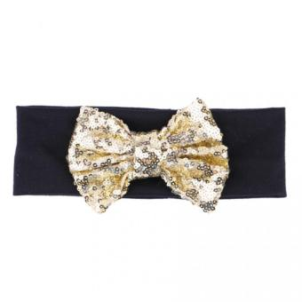 Harga Baby Girls Bow Headband Turban Knot Hair Accessories(gold+balck)