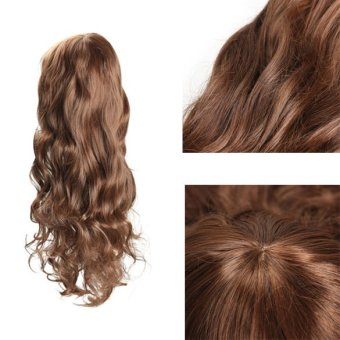 Harga Sweet Girl Vogue Stylish Fluffy Light Brown Curly Wavy Long Hair Full Wig (Intl)