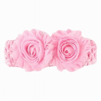 Harga EOZY European Style Baby Knitted Elastic Headband Turban Flowers Decorated Hair Band Baby Hair Accessories - intl