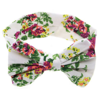 Harga Okdeals Fashion Baby Kids Girl Print Floral Butterfly Bow Hair Band Turban Knot Headband White - intl