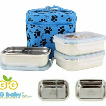 GiG Baby Rounded Lunch Box Stainless Steel - Tas Biru