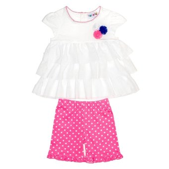 Harga Torio Pink Polka Layered Dress Set - Baju Anak