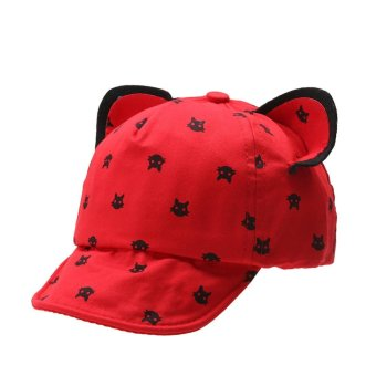 Harga Lovely Cat Sunhat baby Baseball Cartoon Peaked Cap (Red) - intl