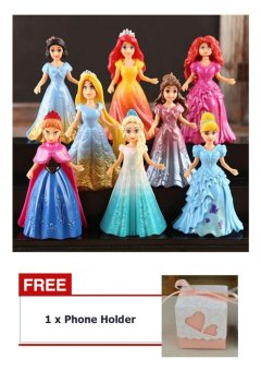 Harga Buy 1 Get 1 Free ! 8PCs Princess Action Figures Dress Doll Toy For Kids Children Baby Boy Girl - intl