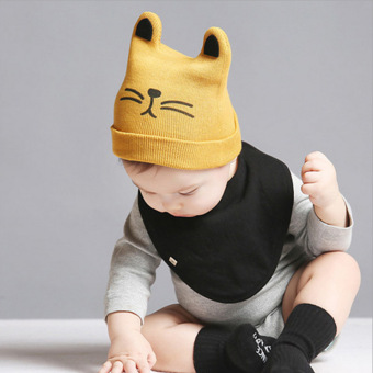 Harga A Baby Infant Head Cap COTTON HAT Warm Hat Children Kitten and Wool Hat Knitted Hat