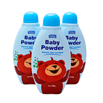 Harga Happy Baby Powder - Biru - 3 Pcs