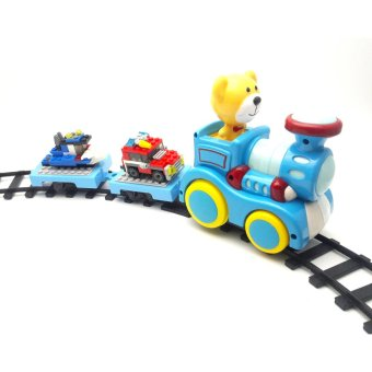 Harga Inini Mainan Kereta Api Train Track with Construction Blocks - Biru