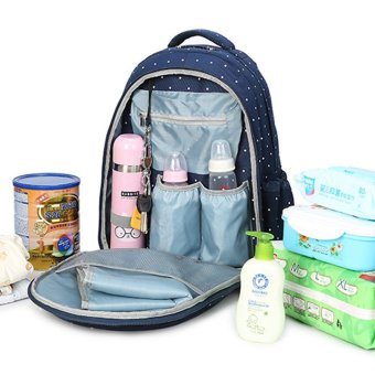 Harga 2 PCS/Set Large Capacity Multifunctional Mummy Nappy Backpack Maternity Baby Diaper for Baby Care Bags (Blue) - intl