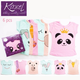 Harga Kazel Tshirt Girl Panda Edition isi 6 pcs - L