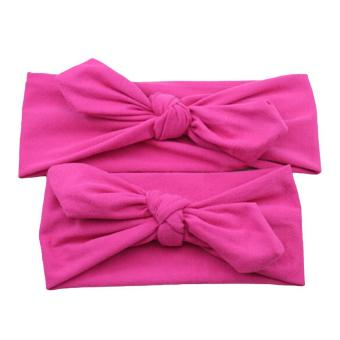 Harga LALANG 1Pair Mom Baby Hairband Rabbit Ears Bow Elastic Knot HeadBand (Rose) - intl