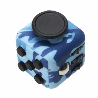 Harga Fidget Cube Kickstarter Finger Toys Therapy Vinyl Desk Stress Relief - Army Blue
