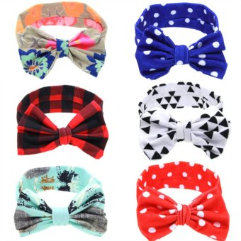 Harga Baby lily Bear Fashion 6pcs Baby Girls Rose Headbands Head Wrap Knotted Hair Band - intl