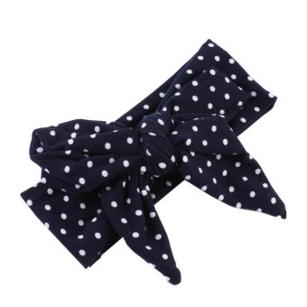 Harga Baby Dots Bowknot Soft Stretchable Hairband Head Wrap (Black) - intl