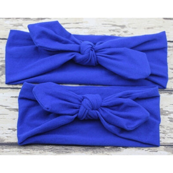 Harga HengSong 2Pcs/Set Mom Baby Bowknot Plain Headband Hair Accessories Dark Blue - intl