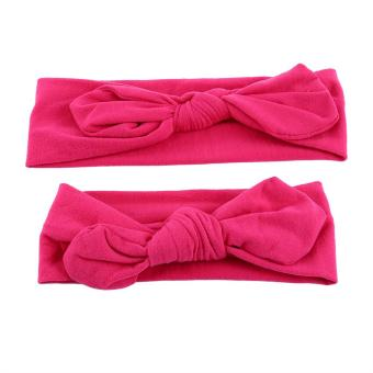 Harga Headband Mom Kids Baby Headwear Knotted Rabbit Adjustable Sports Hair Accessories (Rose Red) - intl