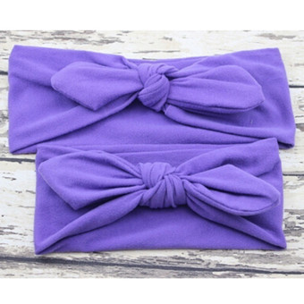 Harga Hanyu 2Pcs/Set Mom Baby Bowknot Plain Headband Hair Accessories Purple - intl