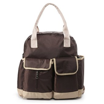 Harga Multifunctional Large Capacity Baby Diaper Nappy Shoulder Bag Mummy Bag Backpack w/Changing Pad Brown