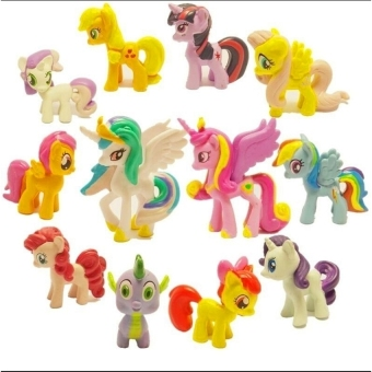 Harga Black Shop International Lot Of 12Pcs My Little Pony Cake Toppers Pvc Action Figures Kids Girl Toy Dolls (New) - Intl