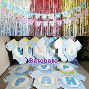 Harga Banner / Bunting Flag Happy Birthday Motif Baju Baby Shower