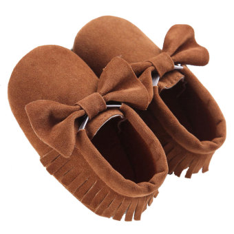 Harga Baby Boys Girls Tassel Bow Soft Sole PU Leather Loafers Moccasin Sneakers Coffee