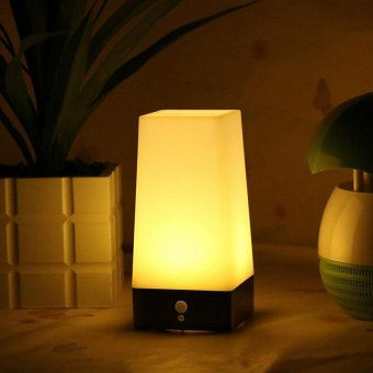 Harga Wireless Motion Sensor Bedroom Night Light Battery Powered LED Table Lamp - intl