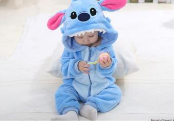 Harga Spring Autumn Baby Clothes Flannel Baby Boy Clothes Cartoon Animal Jumpsuit Baby Girl Rompers Baby Clothing (Lake Blue)