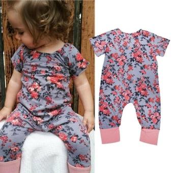 Bayi Bayi Gadis Baju Monyet Jumpsuit Playsuit Floral Cotton Pakaian Pakaian Set AU-Internasional