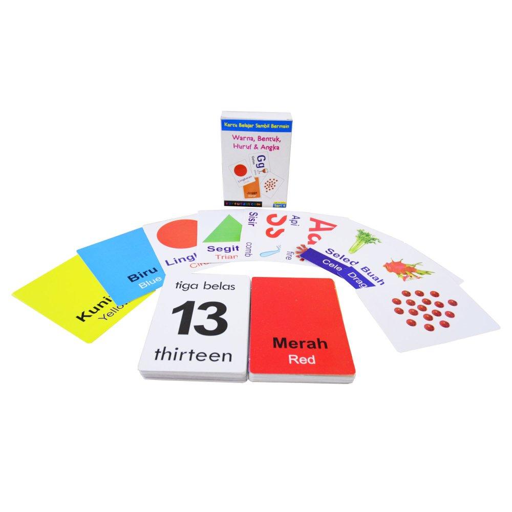 flashcard edukatif – warna/bentuk/huruf/angka – kartu bayi seri 4