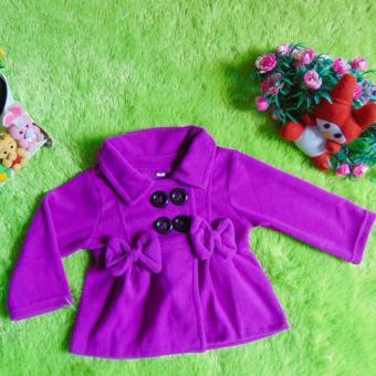 kembarshop - jaket bayi mantel bayi hangat lembut ungu 0-12 bulan