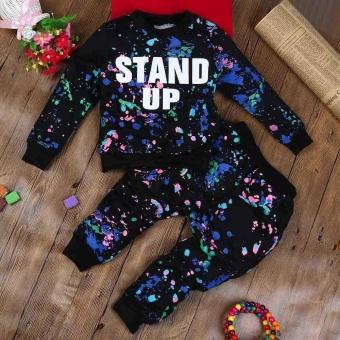 KID Girls Boy Color Cat Huruf Lengan Panjang Sweater + Warna Cat Pant Sports Suit-