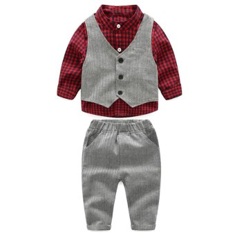 Anak Laki-laki Shirt + Vest + Celana Formal Cothing Set-Intl