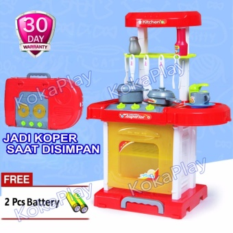 KokaPlay Fashion Funny Kitchen Play Set Luggage Toy Mainan Masak Masakan Koper Warna RANDOM + Free 2 Baterai