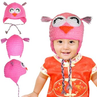 Kupra - Kupluk Rajut Bayi   Anak Karakter Ekslusif Handmade - Owl Merah Muda 83a33160cf